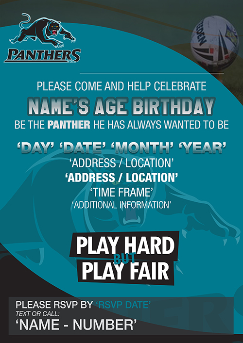 Penrith Panthers Party Invitations