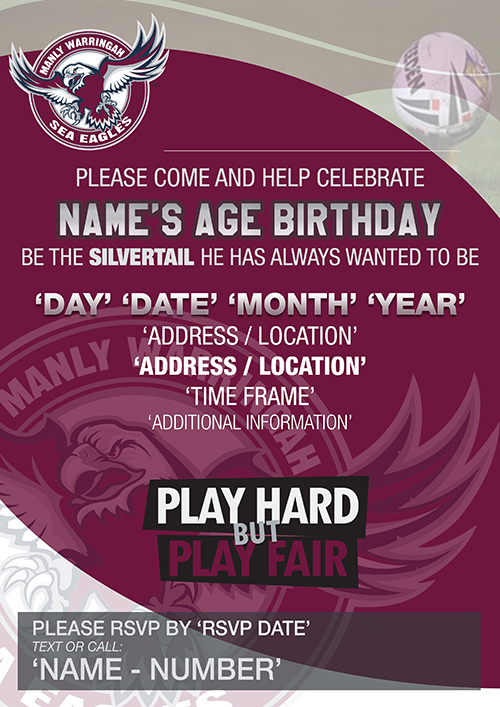 Manly Sea Eagles Party Invitations