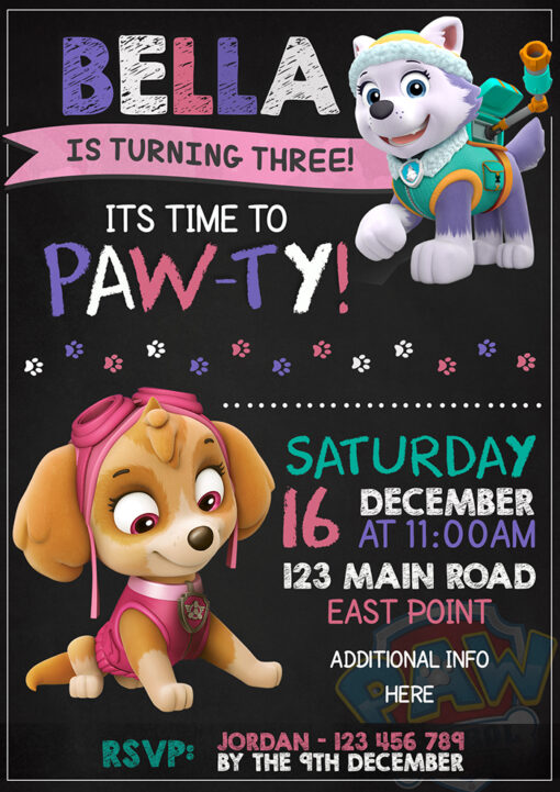 Paw Patrol Party Invitation Everest and Skye